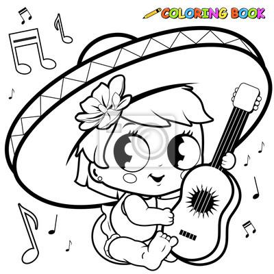 Mariachi Baby Mädchen Spielt Die Gitarre Ausmalbilder Leinwandbilder