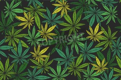 Bild Marijuana leaf vector seamless pattern.  Cannabis engraving plant.