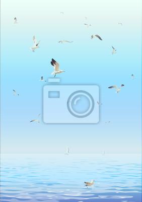 Bild Marine Hintergrund mit Möwen