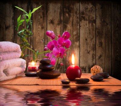 Massage - Bambus - Orchidee, Handtücher, Kerzen Steine