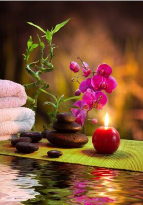 Massage - Bambus - Orchidee, Handtücher, Kerzen, Steine-vertikalen