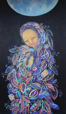 Bild Maternity. Madonna with Child. Beautiful acrylic painting on canvas of woman in foliage clothes with baby, under the fool moon on a black background. Hand drawn portrait. Leaf pattern. Interior decor.