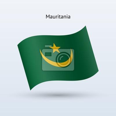 Mauretanien Fahnenschwingen Form. Vektor-Illustration.