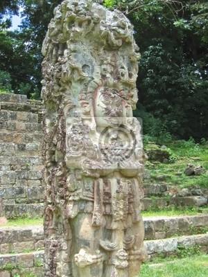 Bild maya deus Steinfigur mit einigen farbigen Lack, Copán, Honduras