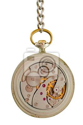 Mechanismus der alten Taschenuhr auf einer Kette