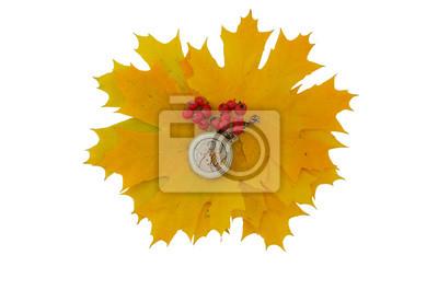 Mechanismus der alten Taschenuhr und einer roten Eberesche auf einem Hintergrund von gelben Blättern. Isolieren