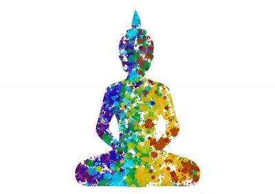 Bild Meditating Buddha posture in rainbow colors