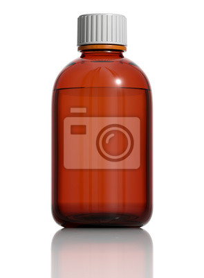 Medizinische Flasche aus braunem Glas isoliert auf weiß. 3d.