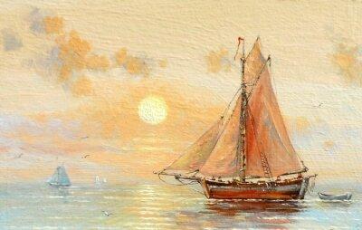 Bild Meer, Boote, Fischer, Ölgemälde