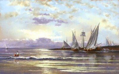 Bild Meer Landschaft, Fischer, Öl digitale Gemälde