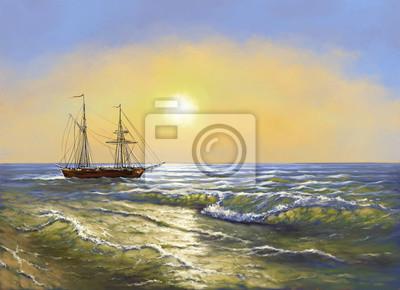 Meer Landschaft Gemälde Digitale ölgemälde Schiff Kunst