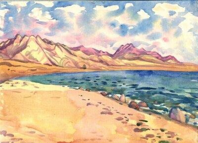 Bild Meer und Berge. Landschaft. Aquarellmalerei