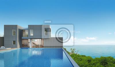 Meerblick haus mit pool im modernen design - 3d-rendering ...