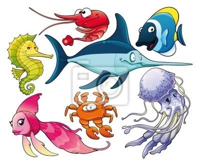 Meerestiere. Isolierte Cartoon und Vektor-Zeichen.