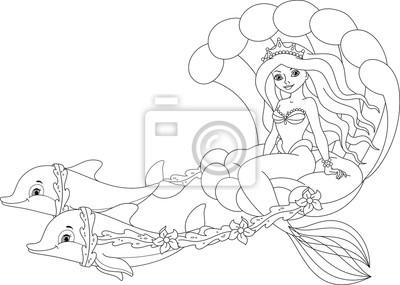 Meerjungfrau Ausmalbilder Leinwandbilder Bilder Krone Prinzessin