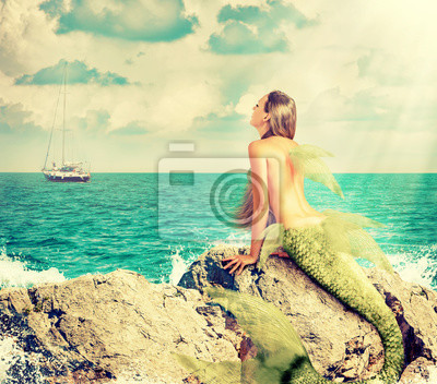 Meerjungfrau, die auf Felsen sitzt