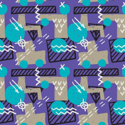 Bild Memphis style seamless pattern. Grunge vector texture. Childish style design with geometric shapes and sketched lines.