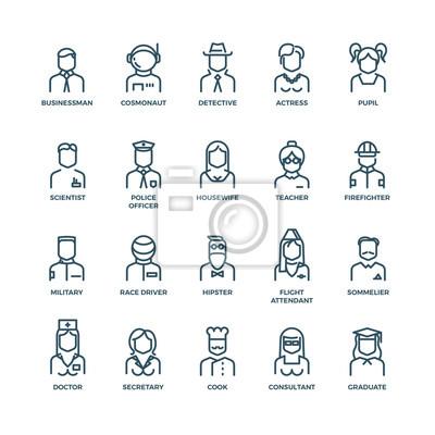 Bild Menschen Avatare, Charaktere Mitarbeiter, Berufe. Karriere Menschen, Manager Beruf, Menschen Beruf, Symbol Charakter Berufe. Vektor-Abbildung lineare Icons