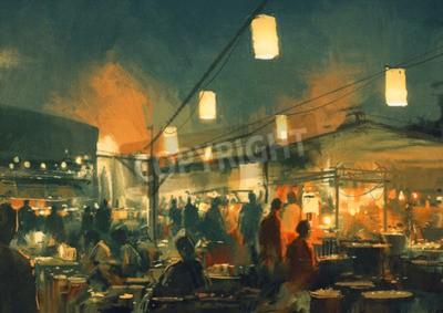 Bild Menschenmenge zu Fuß auf dem Markt in der Nacht, digitale Malerei