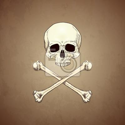 Menschliche Schädel und Knochen auf altem Papier Hintergrund.
