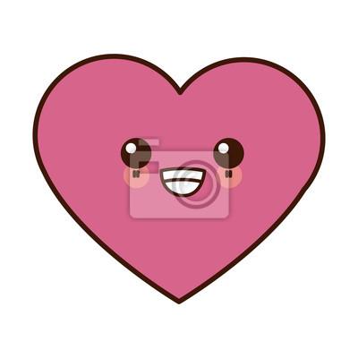 Bild Menschliches Herzsymbol Cute Kawaii Cartoon Vektor Illustration