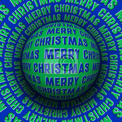 Merry Christmas optical illusion greeting card. Patterned sphere rolling on rotating surface.