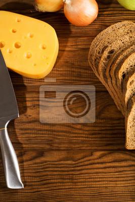 Messer, Käse, Bogen, gehackt Roggenbrot