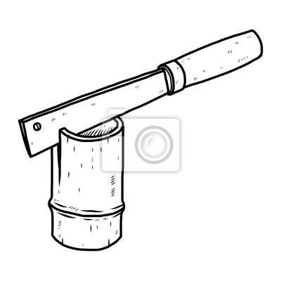 Messer Und Bambus Cartoon Vektor Und Illustration Schwarz