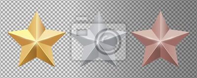 Bild Metal stars. Realistic gold silver bronze stars vector set. Gold star award, golden, silver and bronze illustration