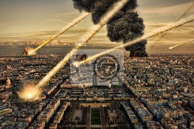 Meteoritenschauer über paris, die Zerstörung der Stadt