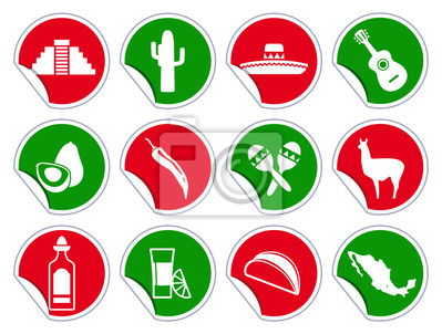 Mexican-Symbol auf Aufkleber-Set