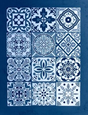 Bild Mexican talavera blue classic background. Color of the year