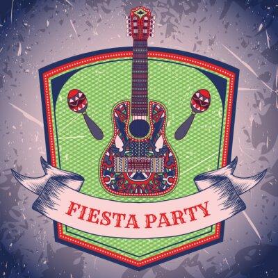 Bild Mexikanische Fiesta-Party-Etikett mit Maracas und mexikanische Gitarren .Hand gezeichnet Vektor-Illustration Poster mit Grunge hintergrund. Flyer oder Grußkarte Vorlage