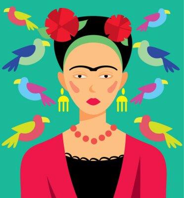 Bild Mexikanische Frau in Make-up, Vektor-Illustration. Zeichentrickfiguren.