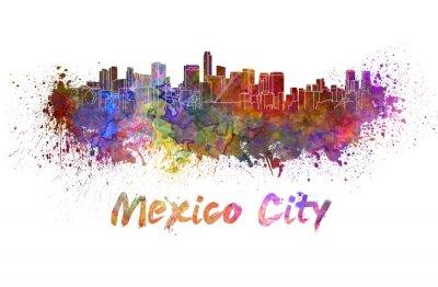 Bild Mexiko-Stadt-Skyline in Aquarell