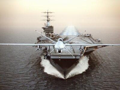 Bild Military Drone Flugzeuge starten von einem Flugzeugträger auf eine Streik-Mission. 3d darstellung
