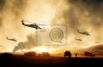 Bild Military helicopters, forces and tanks in plane in war at sunset