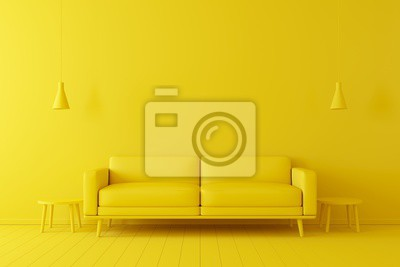 Bild Minimal concept. interior of living yellow tone on yellow floor and background.