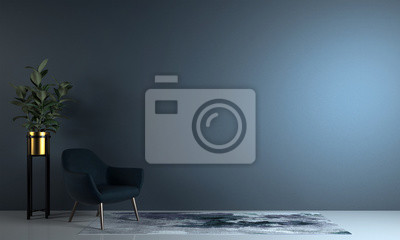 Bild Minimal living room and blue wall texture background interior design / 3D rendering