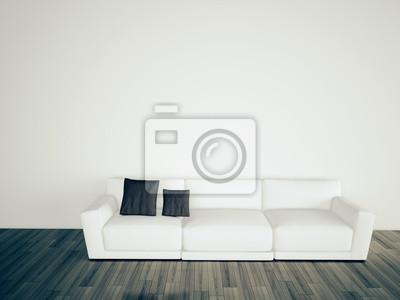 Minimal modern interior couch leere wand leinwandbilder u bilder