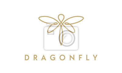 Bild Minimalist elegant Dragonfly logo design with line art style