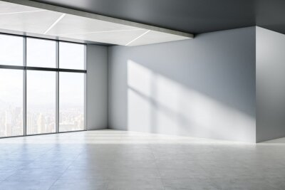 Bild Minimalistic empty concrete room interior with windows, city view, sunlight and shadows. 3D Rendering.