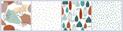 Bild Minimalistic natural seamless pattern. Abstract artistic leaves, berries, branches in the Scandinavian style on a white background. Vector graphics.