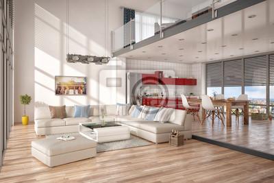 Minimalistisch, modern eingerichtetes loft, mit wohnzimmer, küche ...