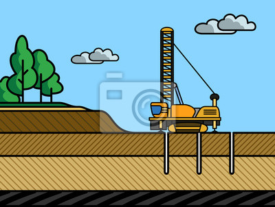 Mining rotary drill vector illustration
