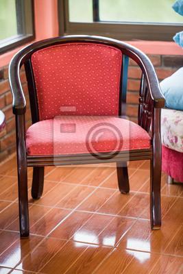 Bild Mitte Des Jahrhunderts Modernes Interieur Mit Roten Stuhl