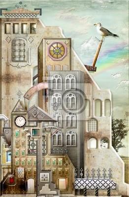 Mittelalterliche Stadt mit Taube