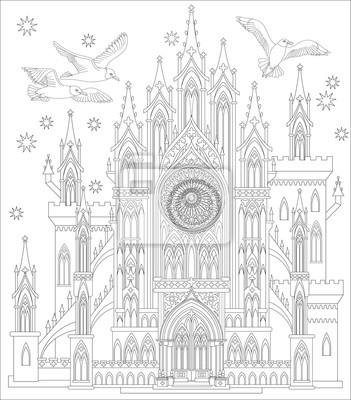 Mittelalterliches gotisches schloss des märchenlands. schwarz-weiß ...