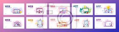 Bild Mobile app and web development banner concept set.