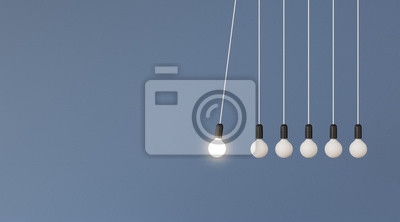 Bild Mock up of hanging light bulbs with one glowing on blue wall background,Conceptual idea of pendulum,Outstanding. 3D rendering